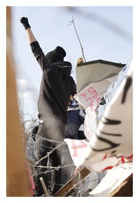 Iranischer Demonstrant an der Grenze zu Mazedonien