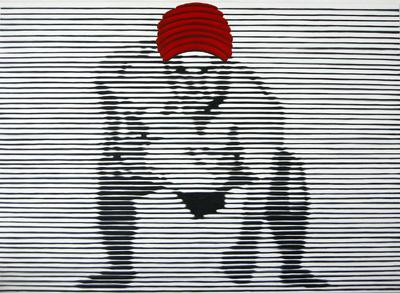 Sumoringer mit roter Wicklung Öl LW 130x160cm 2003