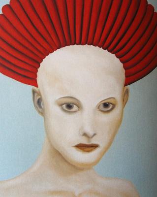 Kopf mit roter Wicklung Öl LW 70x90cm 2002