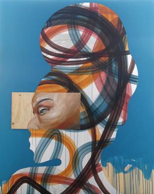 Kopf mit Wicklung Öl Acryl Holz 150x120cm 2010