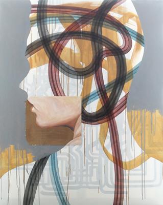 Kopf mit Wicklung Öl Acryl Karton 150x120cm 2010