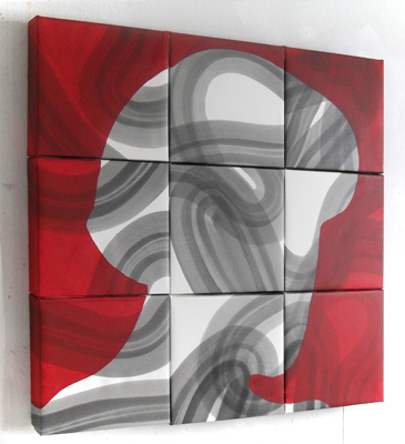 Kopf mit Wicklung Acryl LW 90x90x8cm 2012