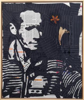 Gewürzhändler – aus das indische Tagebuch 55x46cm Papier Textil 2011