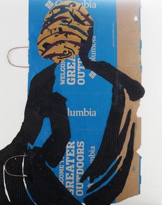 Lumbia mit Wicklung Textil Papier Holz 92x73cm 2012