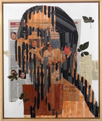 Delhi News – aus das indische Tagebuch 55x46cm Papier Textil 2011